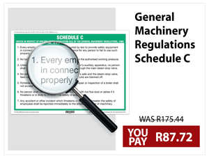 General Machinery Regulations Schedule C Wall Chart