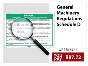 General Machinery Regulations Schedule D Wall Chart
